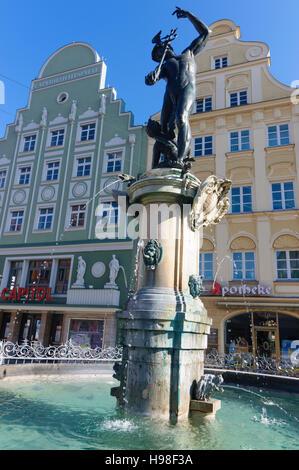 Augsburg: Merkurbrunnen (Quecksilber-Brunnen), Schwaben, Swabia, Bayern, Bayern, Deutschland - Stockfoto