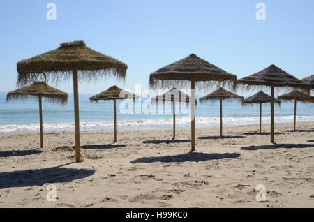 Reihe von Stroh Regenschirmen in den Strand von Marbella, Andalusien, Spanien. - Stockfoto