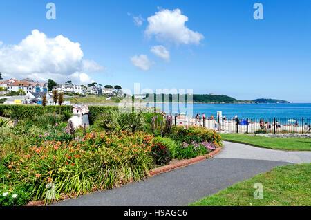 Gärten in der Nähe von Gyllyngvase Strand in Falmouth, Cornwall, England, UK - Stockfoto