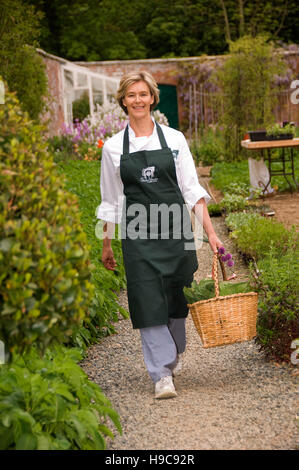 Kate Benson in der ummauerten Garten Der Garten Kochschule bei tresillian Haus, Newquay, Cornwall. Ein warmer Kartoffelsalat - Stockfoto