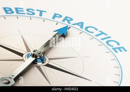 3D Abbildung eines Kompasses mit Nadel zeigt den Text best practice - Stockfoto