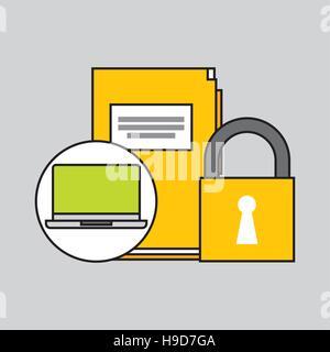 Laptop-Datei Sicherheit Vorhängeschloss Konzept Vektor Illustration Eps 10 - Stockfoto
