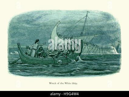 Das weiße Schiff Wrack. Das weiße Schiff, ein 12. Jahrhundert Schiff sank im Ärmelkanal nahe der Küste der Normandie - Stockfoto