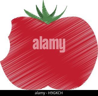 farbige Zeichnung Tomate Biss Handsymbol - Stockfoto
