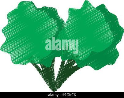 farbige Zeichnung Brokkoli Biss Handsymbol - Stockfoto