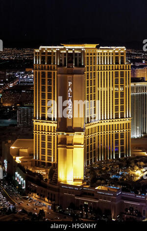 Luftaufnahme des Palazzo Hotel Strip, Las Vegas, Nevada, USA - Stockfoto