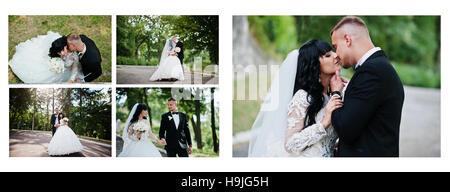 Zwei Seiten des Foto Buch Eleganz Hochzeitspaar. Große Hochzeitsfoto im Rahmen - Stockfoto