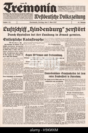 1937 Tremonia Titelseite Zeppelin Hindenburg-Katastrophe - Stockfoto