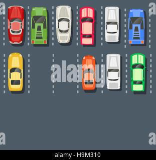 Draufsicht auf einen Parkplatz der Stadt mit einer Reihe von verschiedenen Autos - Stockfoto