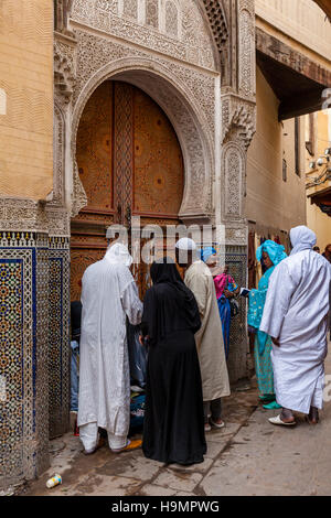 Leben In der Medina, Fes el Bali, Fes, Marokko - Stockfoto