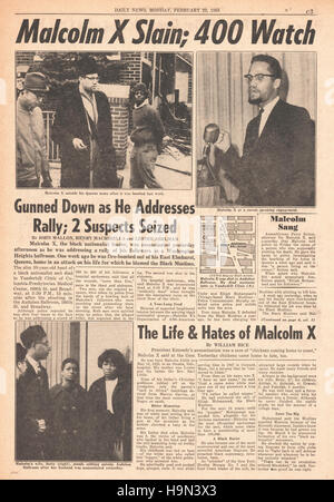 1965 ermordet daily News (New York) Seite 3 Malcolm X - Stockfoto