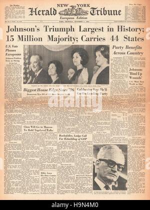 1964 New York Herald Tribune Lyndon B Johnson zum 36. Präsident der Vereinigten Staaten gewählt. - Stockfoto