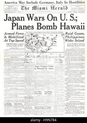 1941 Miami Herald (USA) Titelseite Berichterstattung japanischen Angriff auf Pearl Harbour - Stockfoto