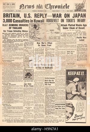 1941 News Chronicle Titelseite Berichterstattung japanischen Angriff auf Pearl Harbour - Stockfoto