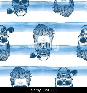 Hipster Musterdesign mit Schädel Silhouetten Aquarell Streifen im Hintergrund. Schädel-Silhouette im Gravur Stil - Stockfoto