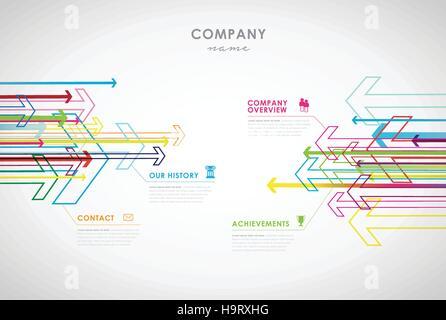 Firma Infografik Übersicht Design-Vorlage mit Pfeilen und Symbolen ...