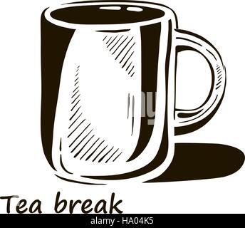 Hand gezeichnet Tasse Tee mit Schatten. - Stockfoto