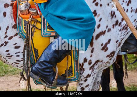 Mongolei, Bayankhongor Provinz, einen Sattel dekoriert - Stockfoto