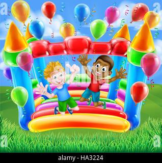 Zwei Jungs, die Spaß auf eine Hüpfburg mit Luftballons und Luftschlangen springen - Stockfoto