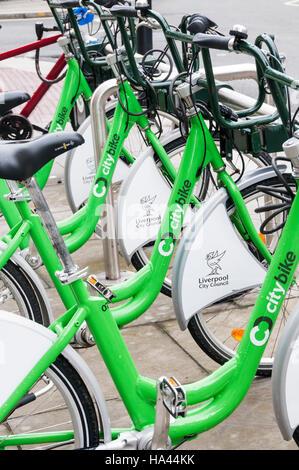 Liverpool Citybike Fahrräder zu mieten. - Stockfoto