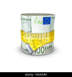 Maßband Euro / 3D Illustration Maßband anziehen um Rolle von Banknoten - Stockfoto
