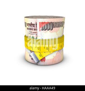 Maßband Rupien / 3D Illustration Maßband anziehen um Rolle von Banknoten - Stockfoto