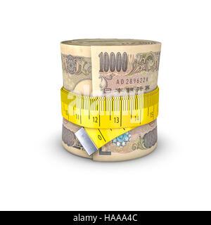 Maßband Yen / 3D Illustration Maßband anziehen um Rolle von Banknoten - Stockfoto