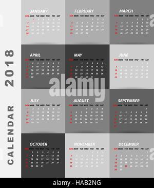 2018 Kalender minimalistisches design - Stockfoto