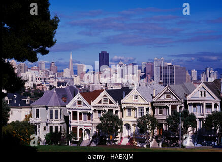 Die Painted Ladies, Alamo Square, San Francisco, Kalifornien, USA - Stockfoto