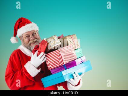 Weihnachtsmann mit Geschenk-Boxen - Stockfoto