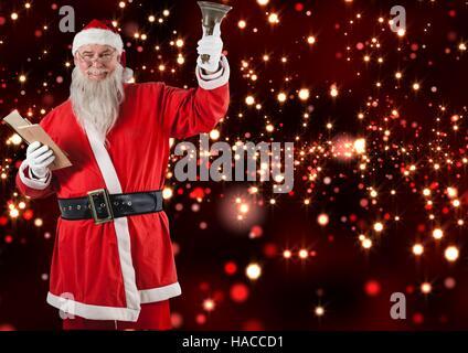 Santa Claus holding umhüllen und Weihnachten bell - Stockfoto