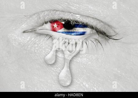 Kuba Flagge in weinende Auge - Stockfoto
