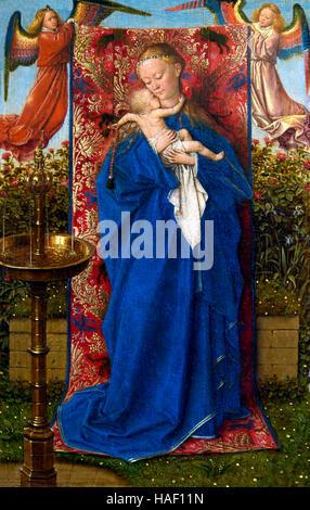 Madonna am Springbrunnen, von Jan Van Eyck, 1439, Königliches Museum der schönen Künste, Antwerpen, Belgien, Europa - Stockfoto