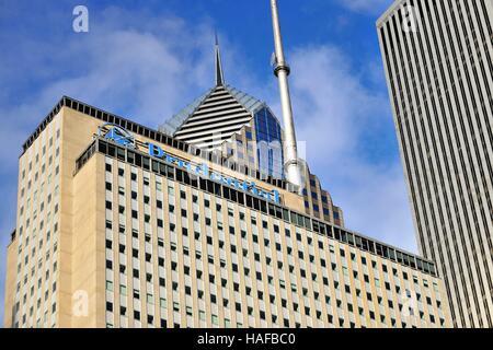 Ein Blick auf die Plaza, einst das höchste Gebäude in Chicago. Chicago, Illinois, USA. - Stockfoto