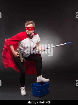 Super-Helden mit Reinigungsanlagen - Stockfoto