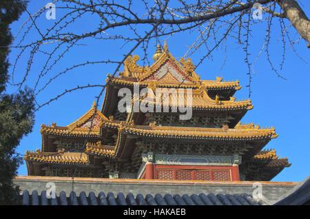 Ecke Turm, die Verbotene Stadt, Peking China - Stockfoto
