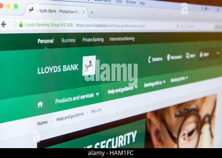 Lloyds Bank Online Cyber Security Internet banking anti virus Malware gehackt Fraud scam, phishing Geld Konto Konten - Stockfoto