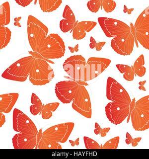 Nahtlose Muster Orange Schmetterling. Sommer Stimmung Hintergrund. Vektor-illustration - Stockfoto