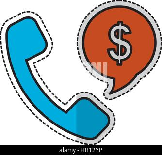 Mobilteil und Rede Blase mit Geld unterschreiben auf weißem Hintergrund. Vektor-illustration - Stockfoto