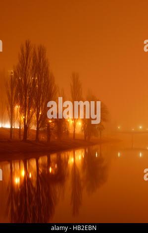 Misty Rusanovskiy Canal entlang einer Straße in der Nacht mit Straßenlaternen Reflexion im Wasser, Kiew, Ukraine, - Stockfoto