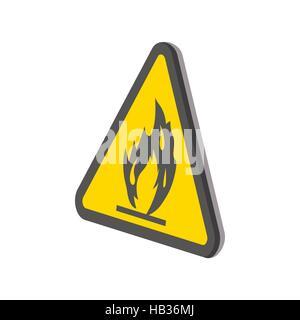 Feuer, Warnung Zeichen Cartoon Ikone - Stockfoto