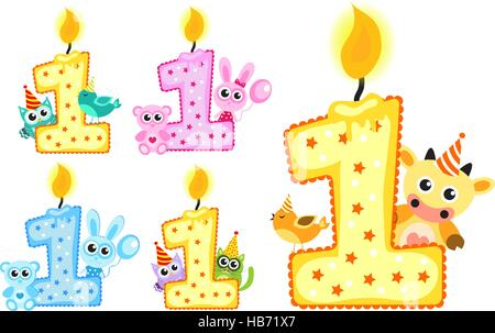 Stellen Sie glücklich ersten Geburtstag Kerze und Tiere isoliert auf weißem Hintergrund. Vektor-illustration - Stockfoto