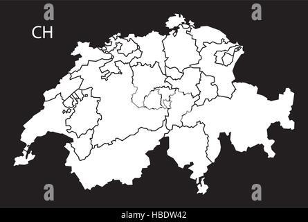 Schweiz Karte Schwarz Weiss.Foderale Landesstruktur Schweiz Vektor Abbildung Bild