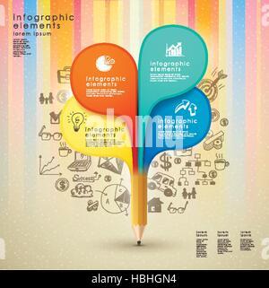 kreative Vorlage mit Bleistift und bunten Hand-zeichnen Hintergrund eignet sich für Infografiken und Banner, Konzept - Stockfoto