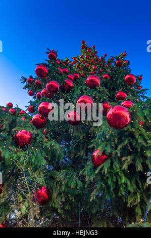 Weihnachtskugeln am Baum - Stockfoto