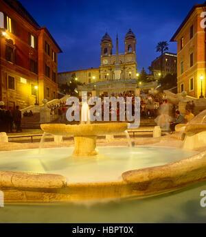Spanische Treppe in der Abenddämmerung, Rom, Latium, Italien - Stockfoto
