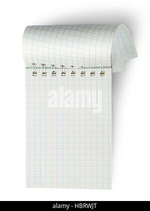 Vertikale Notebook mit gewellten Seiten isoliert auf weißem Hintergrund - Stockfoto