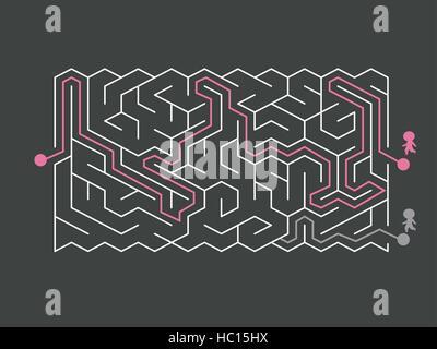 trendige Sechseck Labyrinth auf dunklem Hintergrund isoliert - Stockfoto