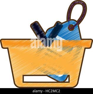 Zeichnung Korb kaufen Online-blaue Preisschild - Stockfoto