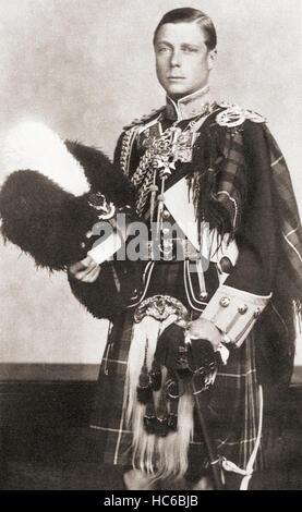 Edward VIII, 1894 – 1972.  König des Vereinigten Königreichs und der Besitzungen des britischen Reiches und Kaiser von Indien, von 20. Januar 1936 bis zu seiner Abdankung am 11. Dezember des gleichen Jahres. Zu sehen hier als Oberst-in-Chief von The Seaforth Highlanders.